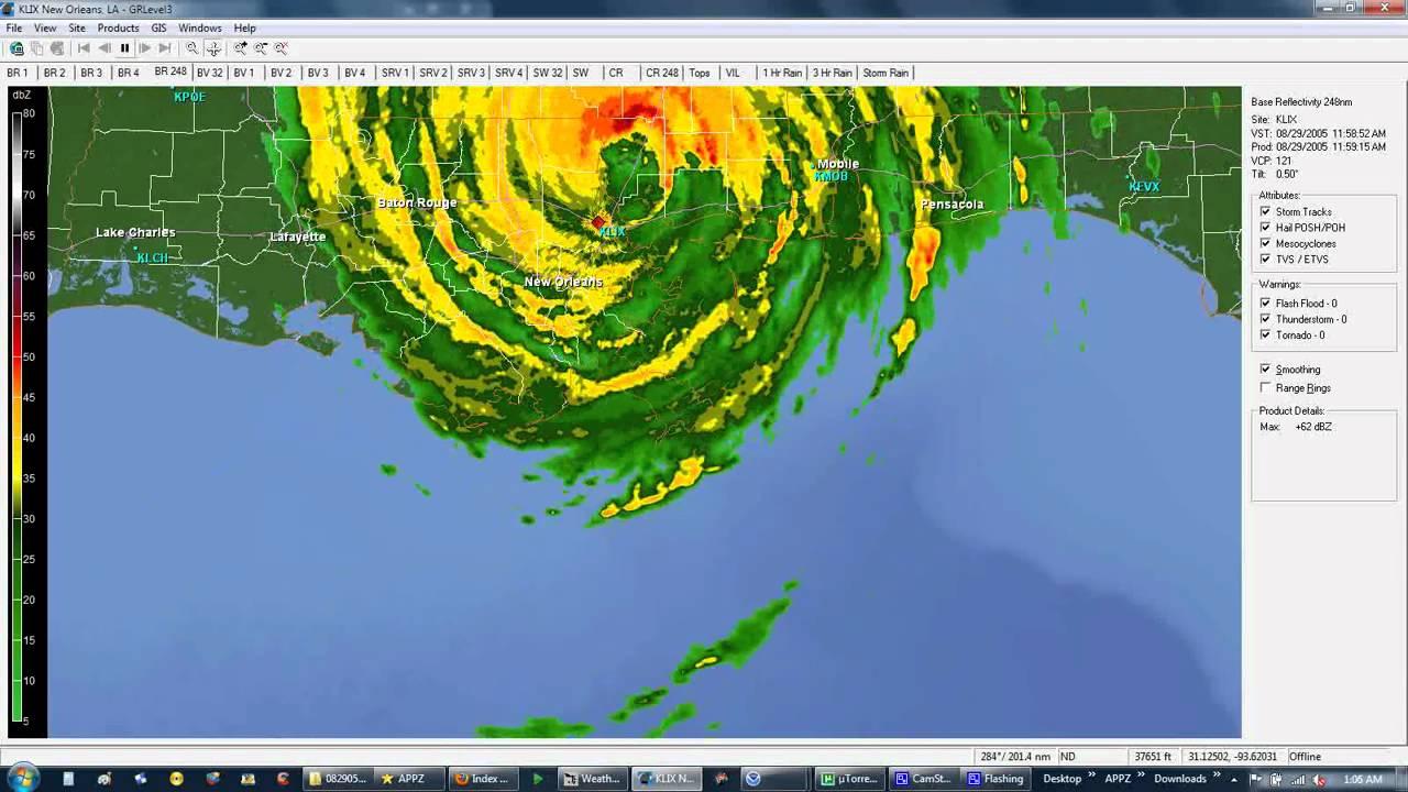 Hurricane Katrina Radar Loop 2005 Youtube