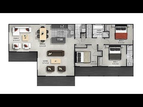 Casas de un piso y tres dormitorios [Planos y fachadas]