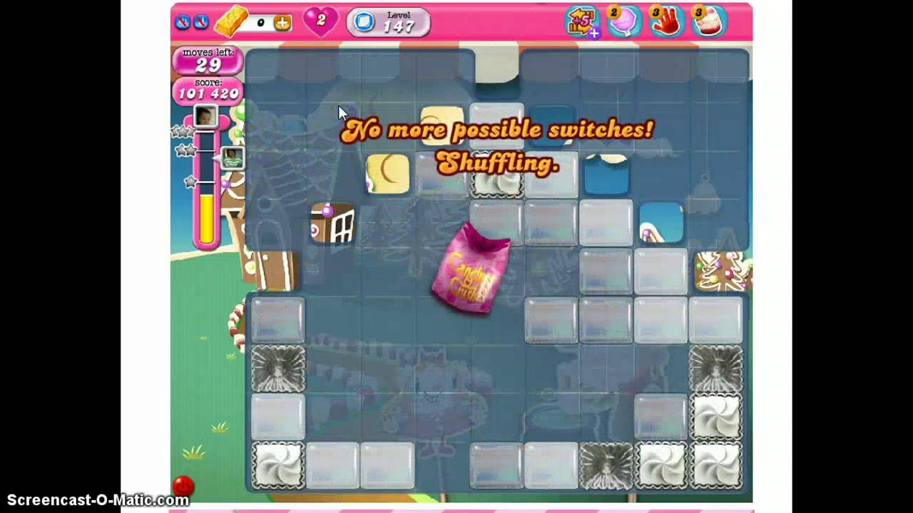 how to achieve level 147 in candy crush to beat level 147 in candy