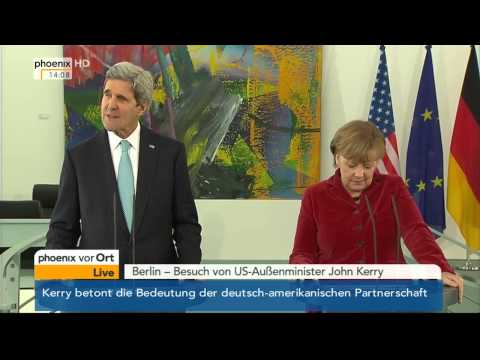 Pressestatement von Angela Merkel & John Kerry am 31.01.2014