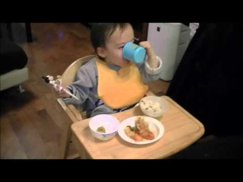 Toddler Eating Food:  Aden Eating a crap ton of kimchi