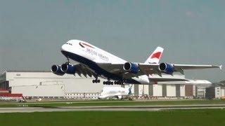 British Airways A380 G-XLEA Takeoff For Cabin First Flight