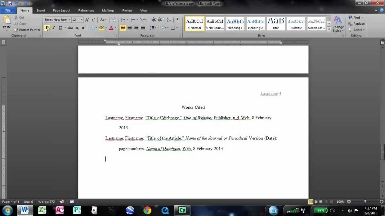 mla works cited page in word 2010