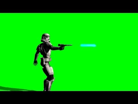 Star Wars Storm Trooper shot with Laser Gun - green screen effects