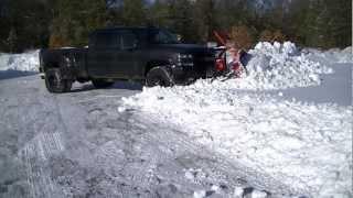 Snow Plowing With Chevy Silverado 3500 Western Pro Plow