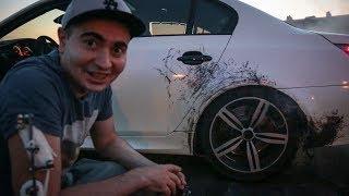 BMW M5 -12 серия: Взорвалось колесо...пленке конец...бампер расплавился... =( Жорик Ревазов.