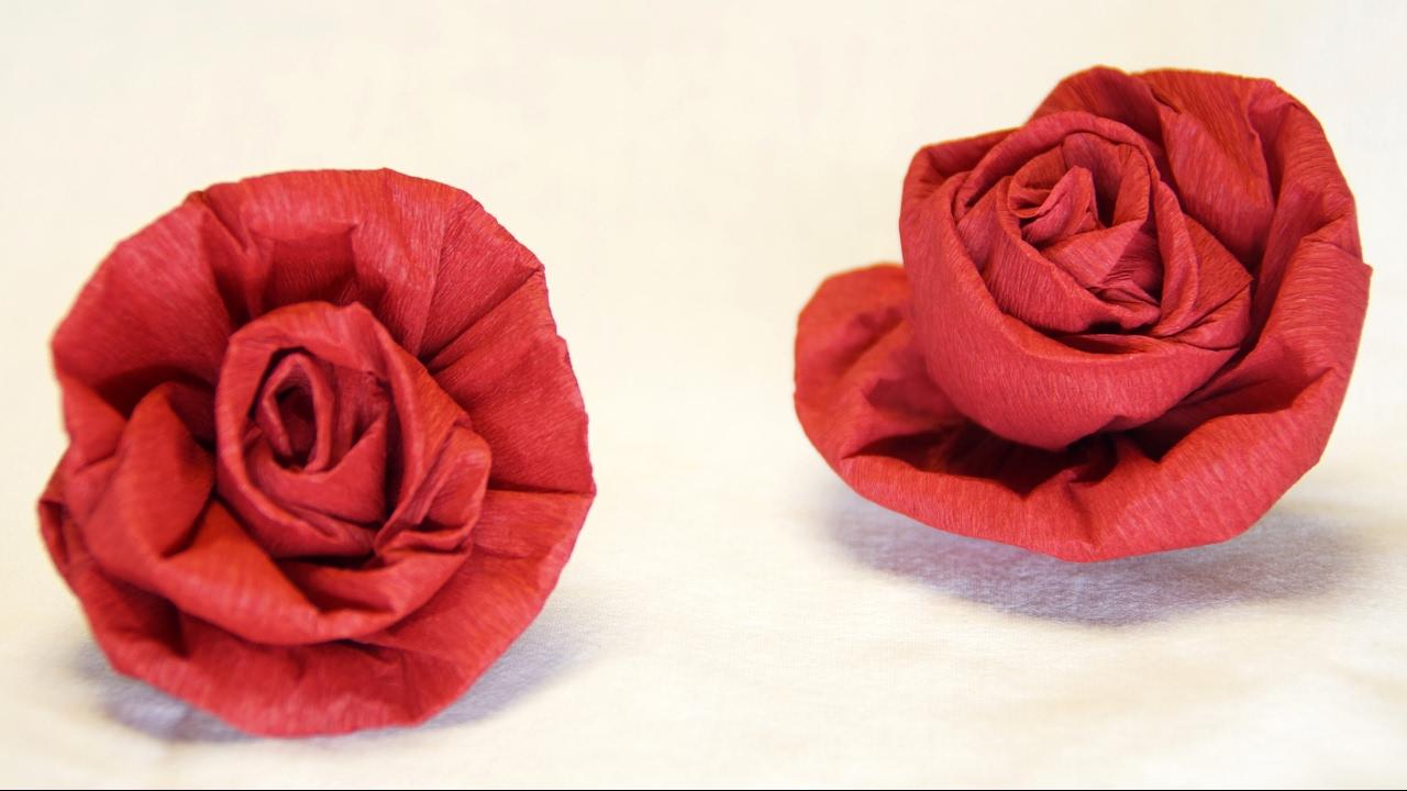 Blumen basteln rose aus krepppapier feinkrepp basteln for Krepppapier blumen