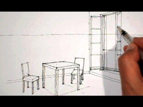 Dessiner en perspective int rieure table chaises fen tre youtube - Dessin en perspective d une maison ...