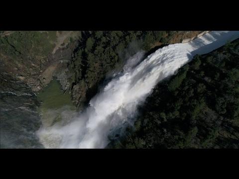 Massive waterfall at Bullards Bar Dam - Aerial Extreme