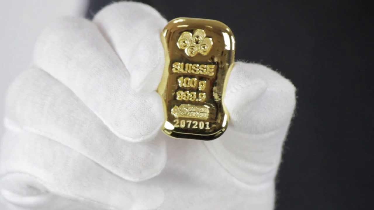 100 Gram Pamp Suisse Gold Bar 9999 Fine Goldmart Youtube