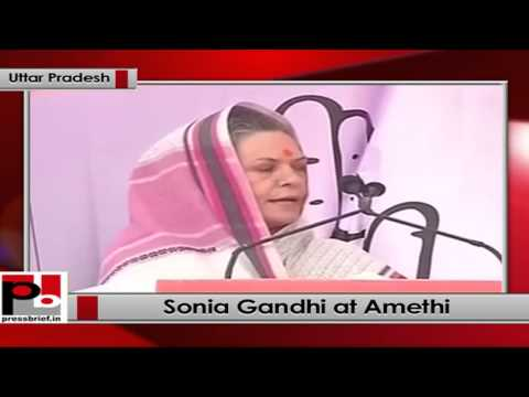 Sonia Gandhi addresses a public rally in Amethi (Uttar Pradesh)