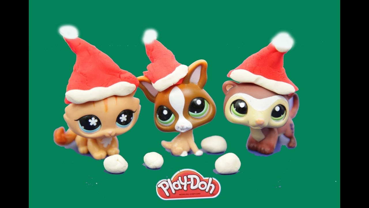 Littlest Pet Shop Make Play Doh Santa Claus Hats Lps Play