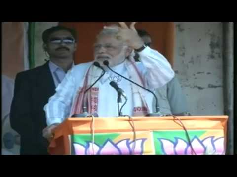 Shri Narendra Modi addressing a massive gathering in Biswanath Chariali ,Assam