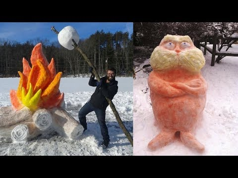 100+ Creative Ideas Of Talented People l Funny Sculptures From The Snow #30