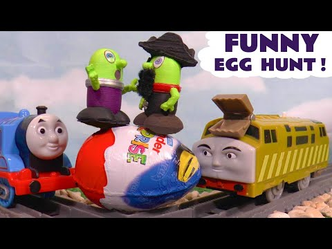 Funny Funlings Kinder Egg Hunt with Thomas and Friends Toy Trains and Cars McQueen TT4U