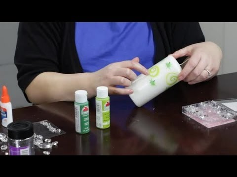 How to decorate candles with gems paint craft projects for Can you paint candles with acrylic paint