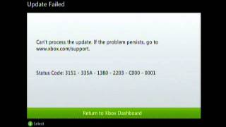 Xbox 360 Can Not Process Update, Xbox 360 Cant Connect To