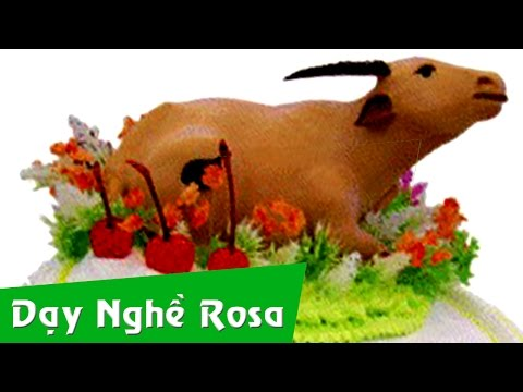 Trang trí bánh kem sinh nhật - bài Con trâu và con ngựa