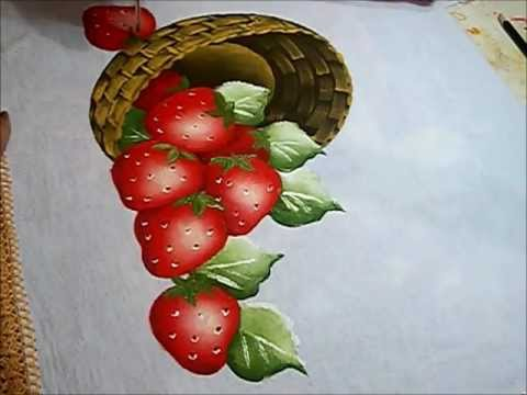 PINTURA EM TECIDO - VÍDEO AULA PINTANDO MORANGOS - how to paint strawberries