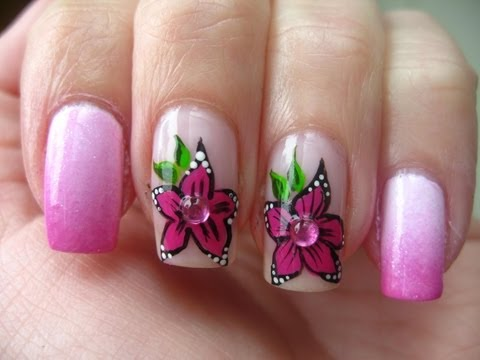 Nail art: Pink flower and gradient nails