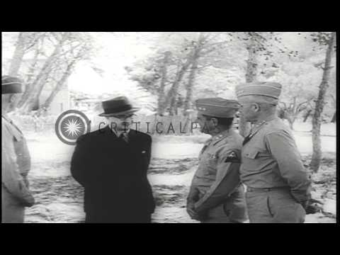 King George VI of Britain reviews United States 5th Army in Africa HD Stock Footage