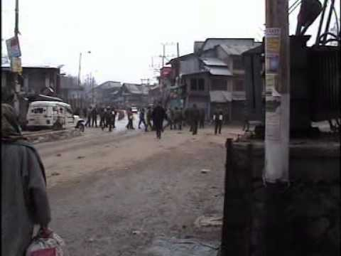 Protest in Pulwama in response to the shutdown call given by the Hurriyat(M)