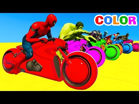 LEARN Color Motorcycles on BUS  Spiderman Cars Cartoon for kids with Superheroes for babies