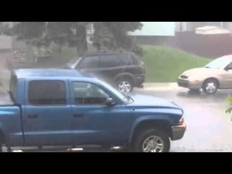 Crazy rain and hail with bonus 'nope' footage