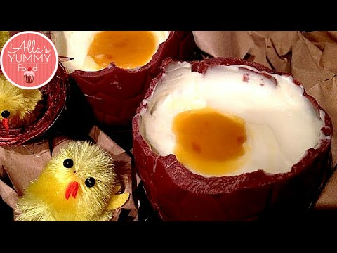 CHOCOLATE EGGS with Cheesecake & Mango Filling!
