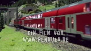 Viel Eisenbahnverkehr auf der Spur H0 Anlage in der Modellbahnwelt Odenwald