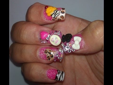 3D Nail Art: Hello Kitty, Cupcake & Cheetah heart,