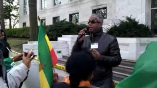 Dozens of people demonstrated in front of the Saudi Arabia Embassy in Washington, D.C.Tamagne Beyene