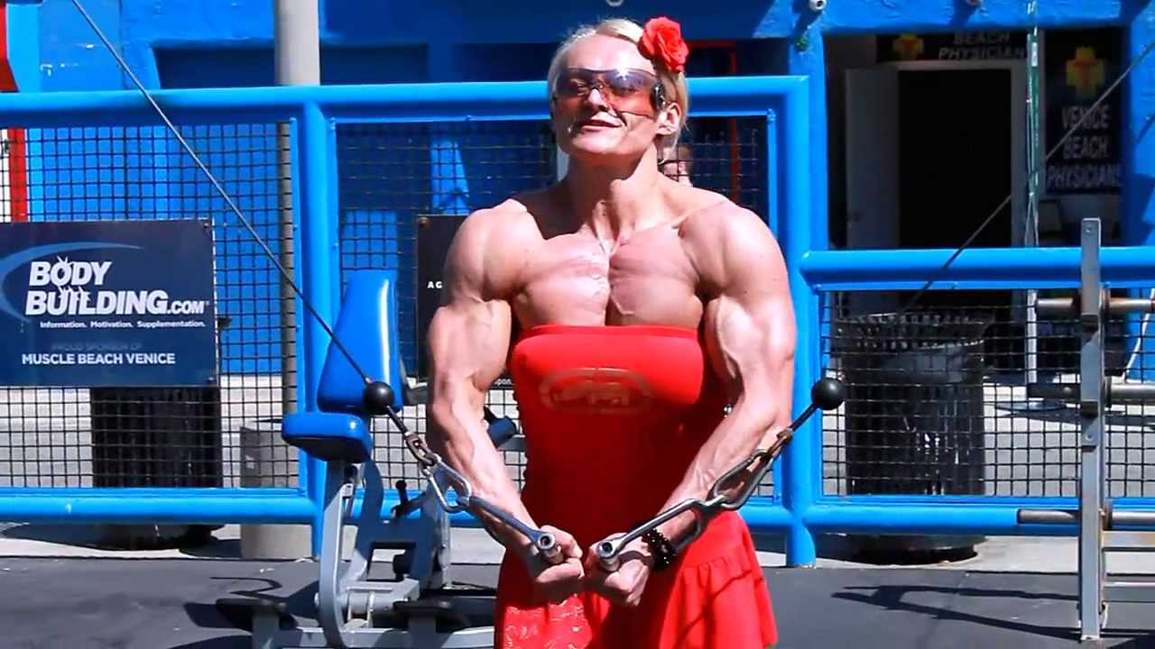 Massive Female Bodybuilder hard gym workout at Muscle