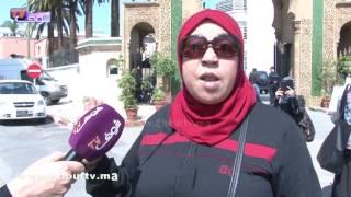 عاملات شركة انتيرترونيك ماروك تحتجن أمام وزارة العدل بالرباط..بغينا غير حقوقنا |