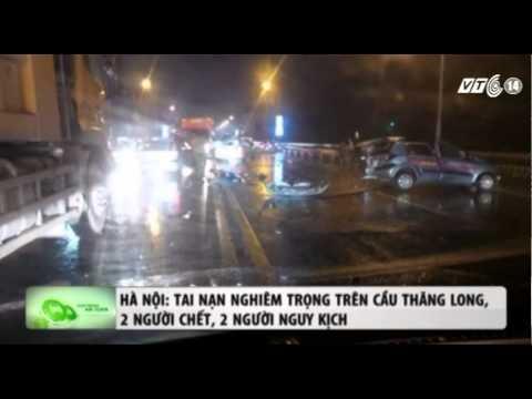 VTC14_Hà Nội: Tai nạn nghiêm trọng trên cầu Thăng Long, 2 người chết, 2 người nguy kịch
