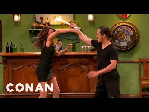 Nina Dobrev Shows Off Her Action Hero Chops - CONAN on TBS, Nina wants to be the new Angelina Jolie, and she kicks Conan's  to prove that she can.More CONAN @ http://teamcoco.com/video Team Coco is the official You...