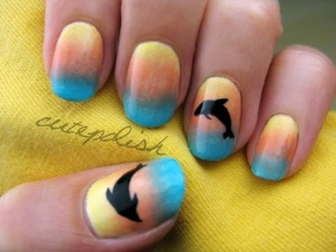 Sunset Dolphin Nails, facebook.com/cutepolish This is one of my favorite summer designs. It looks absolutely gorgeous on your nails! It helps to practice painting the dolphins on ...