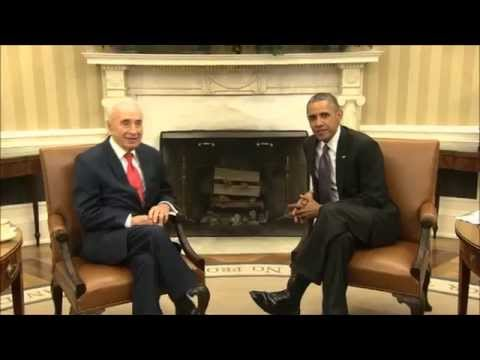 President Shimon Peres meeting with President Barack Obama #PeresUSA