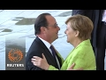 Outgoing French President Hollande on farewell visit to Berlin