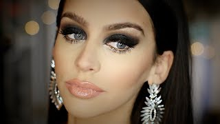 Black SMOKEY Eye FULL FACE Makeup Tutorial Heavy Glam