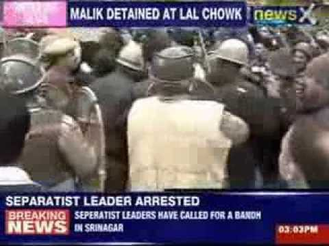 Yasin Malik was detained while leading a protest towards Lal Chowk