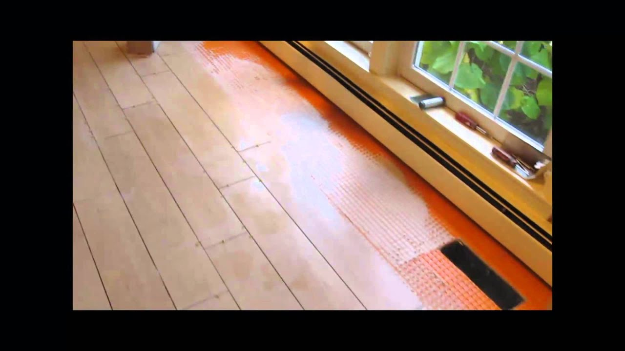 How to install porcelain floor tile over plywood