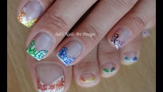 Nail Art Design - French manicure rainbow swirls-arabesque
