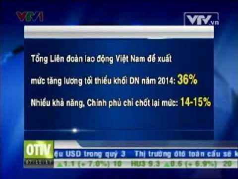 Tổng LĐLĐ Việt Nam đề xuất mức tăng lương tối thiểu khối DN năm 2014 - Nguồn VTV