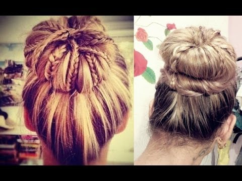 Coque Diferente com tranças  - Braided Sock Bun Updo Hair Tutorial