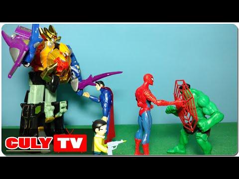 Người nhện giúp siêu nhân gao đỏ kêu gọi robot siêu thú bắt Superman đồ chơi doremon chế hài trẻ em