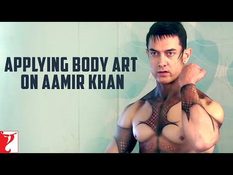 Applying Body Art on Aamir Khan - Dhoom:3