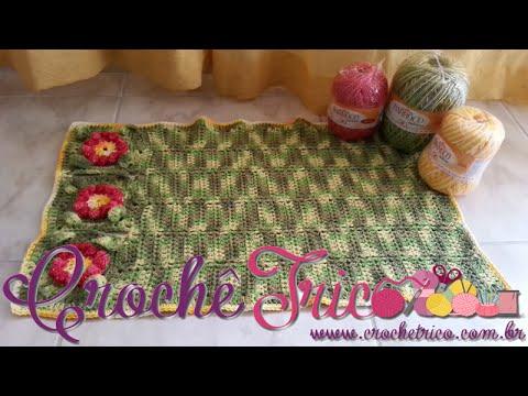 Crochê  - Tapete Flor Puff (com Barroco) - Parte 01/03