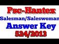 Psc Hantex Salesman Saleswoman Answer Key 524 2013 Code A code B Code C Code D
