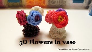 Rainbow Loom 3D Mini Flowers In Vase Charm How To